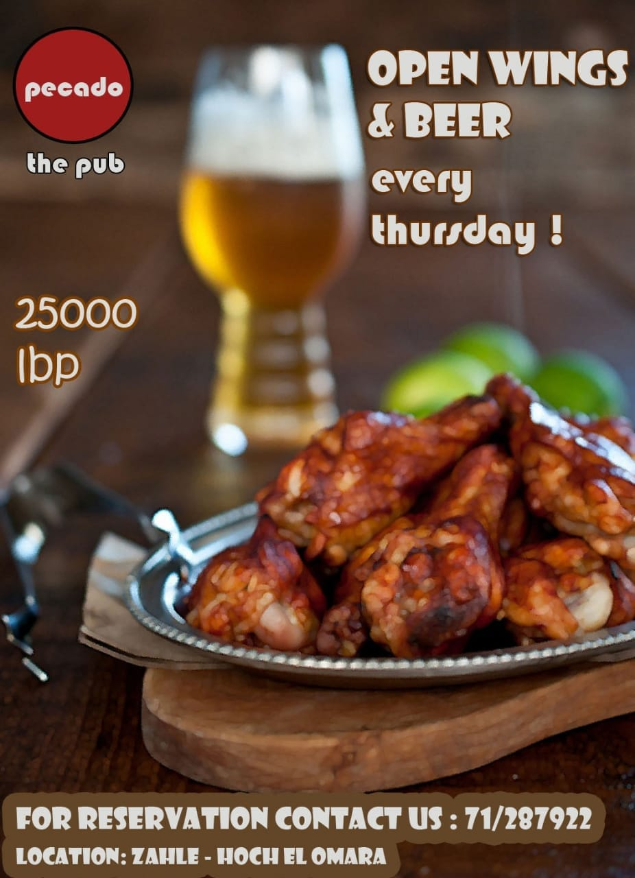 PECADO THE PUB OPEN WINGS & BEER FOR 25000 L.L.