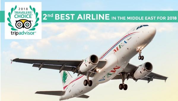 Tripadvisor ranks MEA as the second best airline in the Middle East